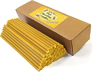 Natural Pure Beeswax Candles Organic Honey Eco Candles (Natural Cotton Wicks, Dripless, Smokeless, Not Ear Candles) (Yellow, 7 Inches (17.8 cm) 70pcs)