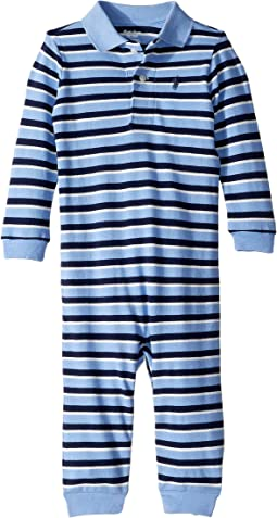 Striped Cotton Mesh Coverall (Infant)