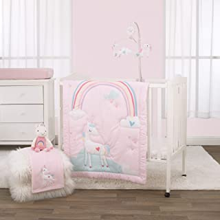 NoJo 3 Piece Mini Crib Bedding Set, Rainbow Unicorn, Pink/Aqua/Yellow/White