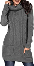 BLENCOT Womens Turtleneck Long Sleeve Elasticity Chunky Cable Knit Pullover Sweaters Jumper with Pockets