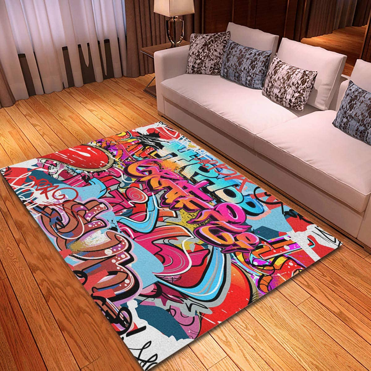 rouihot Non-Slip Area Rug 4'x 6' Funky Challenge the Denver Mall lowest price of Japan ☆ Hop Hip Wall Graffity