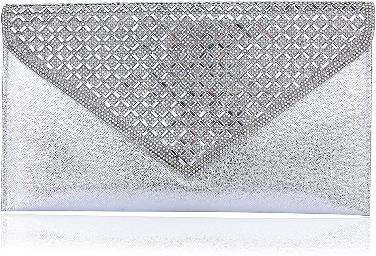 Womens Satin Pleated Evening Purse,WALLYN'S Elegant Clutch Bag Party Prom Envelope