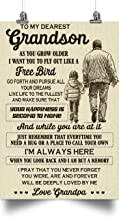 Grandma to Grandson Poster - as You Grow Older i Want You to Fly Out Like a Free Bird When You Look Back and i am but a Memory - Holidays Grandson Gift, Grandson Gift from Grandma
