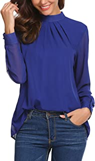 blue cape lapel loose chiffon blouse