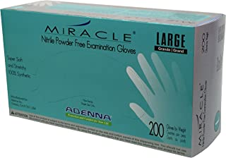Adenna Miracle 3.5 mil Nitrile Powder Free Exam Gloves (Blue, Large) Box of 200 by Adenna