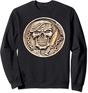 Buffalo Nickel Beret Skull ~ Combat Soldier Knife Sweatshirt