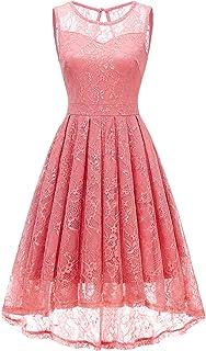 Gardenwed Women`s Vintage Floral Lace Cocktail Formal Swing Dress Hi-Lo Bridesmaid Dress Sleeveless