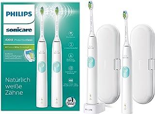 Philips 飞利浦 Sonicare ProtectiveClean 4300 电动牙刷 HX6807 / 35,带声波技术,1个程序,压力控制,双装,白色