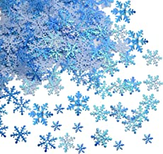750 pcs Snowflakes Confetti for Christmas Wonderland Winter Frozen Party Blue Color with Iridescent Finish