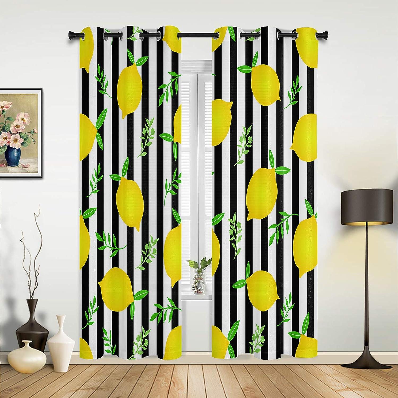 Window Sheer Ultra-Cheap Deals Curtains for Bedroom Fresh Room Max 89% OFF Summer Lemon Living