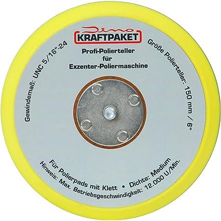 Dino Kraftpaket 640292 125mm Stützteller 5 16 24 Mit Klett Polierteller Für Exzenter Poliermaschine 600w 8mm 650w 9mm Hub Schwarz Auto