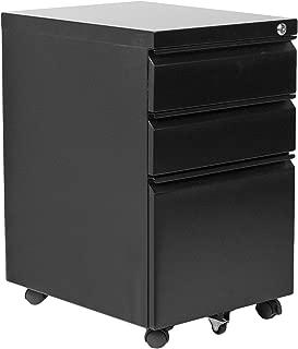 VIVO Black Steel 3 Drawer Mobile Office File Cabinet with Lock | Rolling Pedestal Storage Cabinet on Wheels (FILE-MB01B)