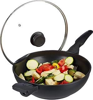 relaxdays, noir Poêle wok 30 cm avec couvercle gaz plaque électrique antiadhésif 4 litres poignée, aluminium, verre, plast...