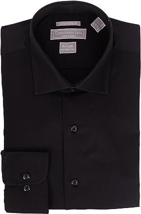 fc15b8b8c Christopher Lena Mens Slim Fit Solid Spread Collar Cotton Wrinkle Free  Dress Shirt