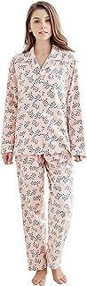 Tony & Candice Women's 100% Cotton Long Sleeve Flannel Pajama Set Sleepwear