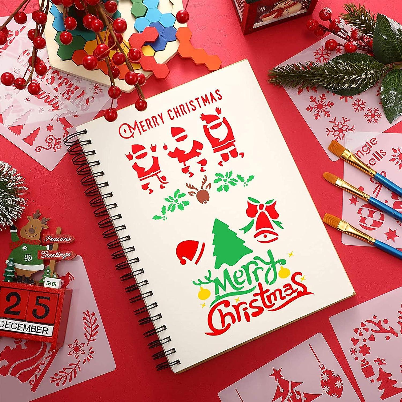 C 16pcs Plantillas de Dibujo de Navidad,Plantillas navide/ño,Christmas Plantillas Dibujo,Navidad Plantillas Dibujo,kit de dibujo de plantilla de navidad,plantillas navidad manualidades