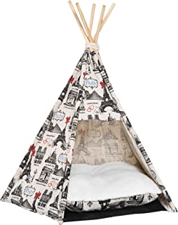 PawHut Pet Teepee Tent with Cushion Foldable Doggy Puppy Kitty House Wood Canvas with Pad