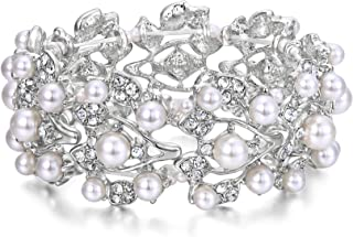 EVER FAITH Crystal Cream Simulated Pearl 1920's Style Leaf Stretch Bracelet Clear