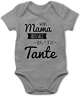 Shirtracer Sprüche Baby - Wenn Mama Nein SAGT frag ich die Tante - Baby Body Kurzarm für Jungen und Mädchen