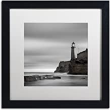 Morro Lighthouse by Moises Levy in White Matte and Black Framed Artwork, 16 by 16