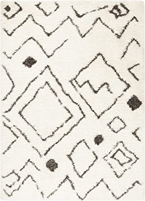 Safavieh Flokati Shag Collection FLK980A Moroccan 2.75-inch Thick Area Rug, 8' x 10', Ivory / Charcoal