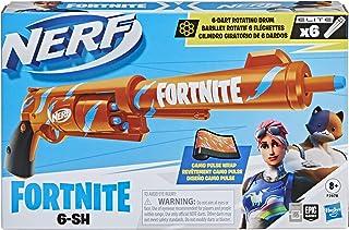 Nerf Fortnite 6-SH Dart Blaster -- Camo Pulse Wrap, Hammer Action Priming, 6-Dart Rotating Drum, Includes 6 Official Nerf ...