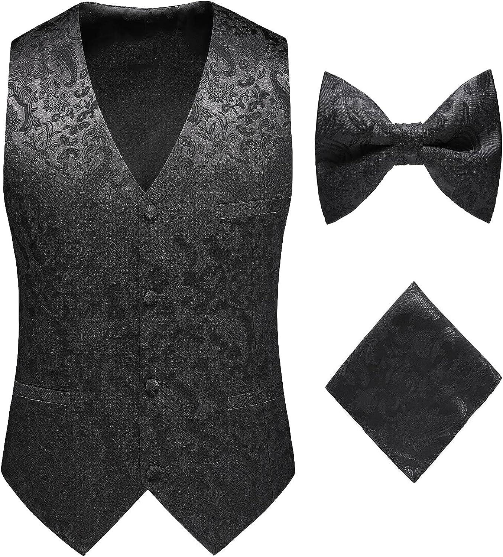 MOGU Mens Formal Vest Paisley Jacquard Suit Waistcoat Wedding Prom Groomsmen