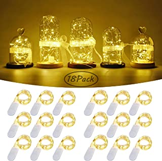 Starry String Fairy Lights, Firefly Lights 18 Pack with 20 Micro LED on 7.2feet/2m Silver Copper Wire Battery Powered Mini Lights for DIY Wedding Party Centerpiece Decorations - Warm White