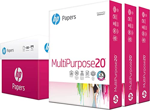 HP Printer Paper 8.5x11 MultiPurpose 20 lb 3 Ream Case 1500 Sheets 96 Bright Made in USA FSC Certified Copy Paper HP ...