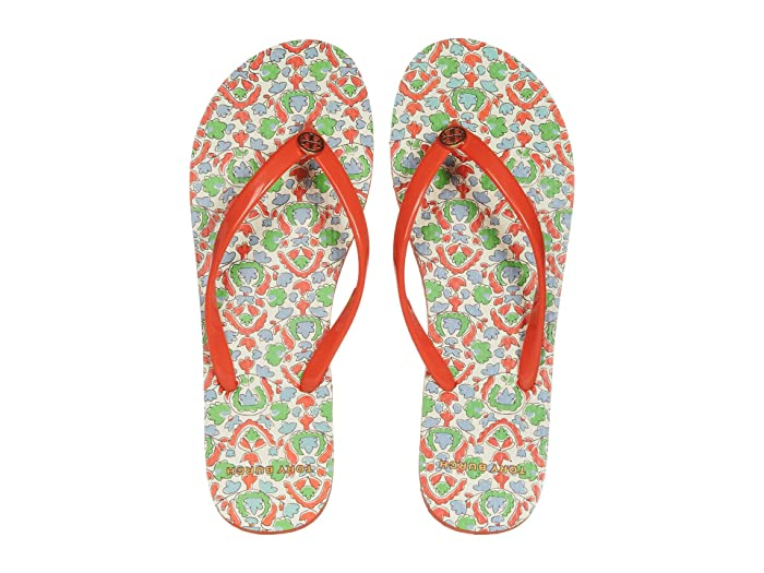 Tory Burch  Thin Flip Flop (Poppy Red/Legacy Paisley) Womens Sandals