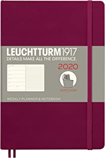Weekly Planner & Notebook 2020 Softcover Medium (A5), 12 Months, Port Red, English