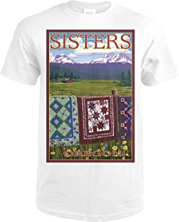 Sisters, Oregon - View with Quilts on Fence 31063 (Premium White T-Shirt XX-Large)