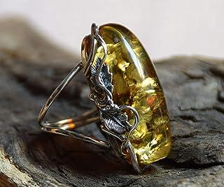 MJ Baltica anello Argento 925 e Ambra Naturale regolabile grande colore unico artigianale BP036