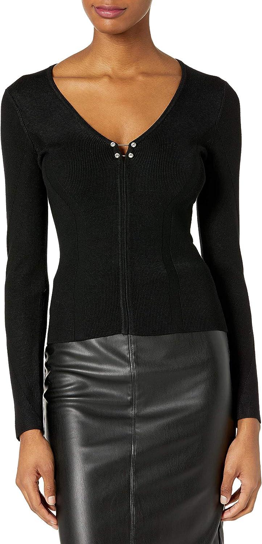 オリジナル GUESS Women's 誕生日プレゼント Long Sleeve Pierced Sweater Irina Rib V-Neck