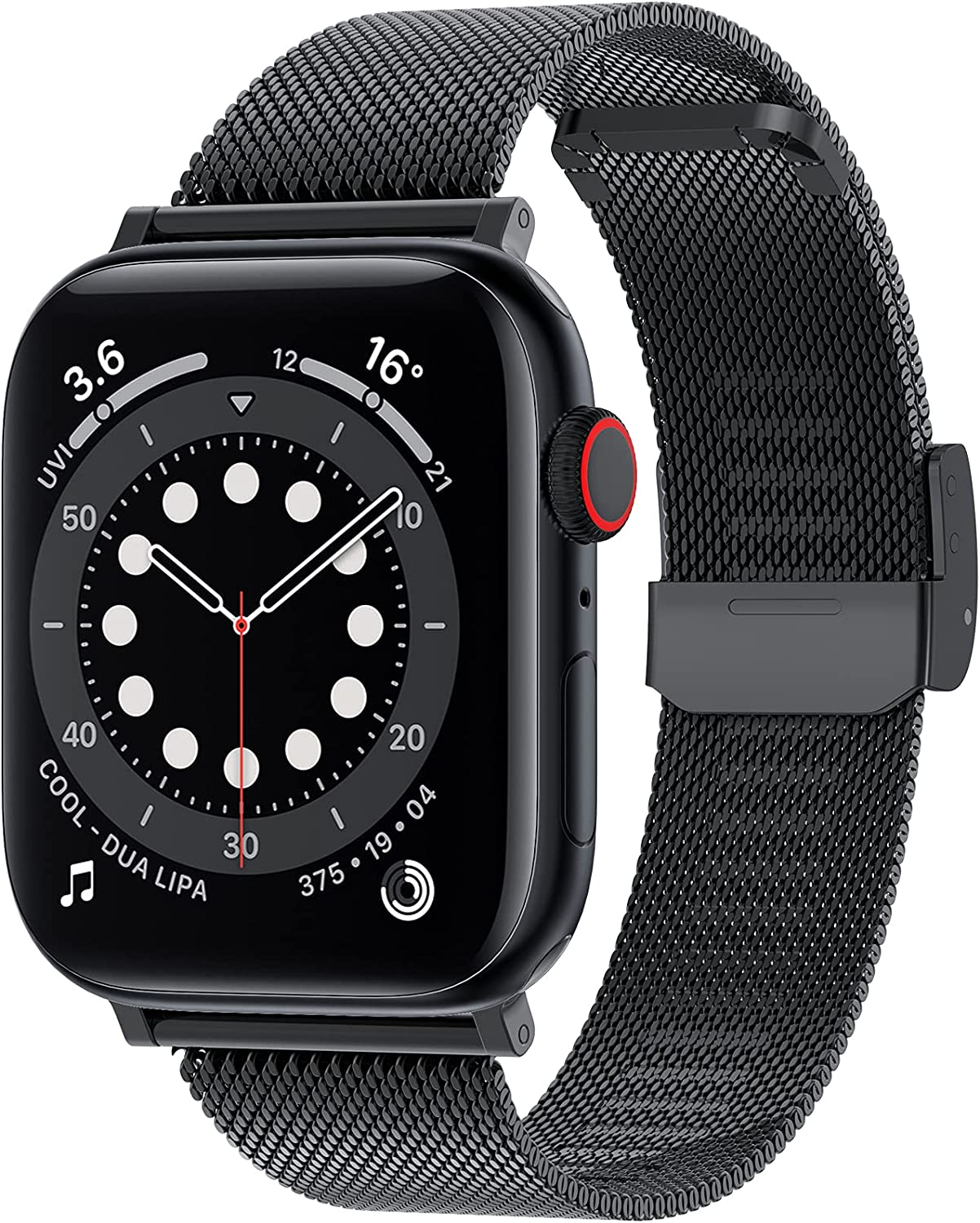 Goton Stainless Steel Band Compatible with Apple Watch Band 38mm 40mm 42mm 44mm, Lightweight Thin Mesh Metal Loop Replacement Strap for iWatch SE & Series 6/5/4/3/2/1 Men Women