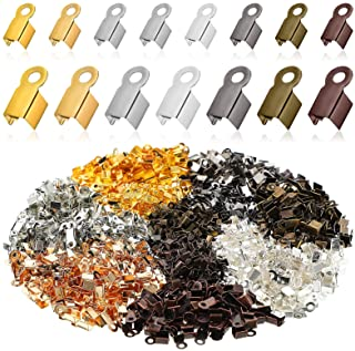 1400 Pieces Fold Over Cord Ends Multicolor Cord Crimp End Tips Fold-Over End Caps Leather Ribbon Ending Clasp Tips Jewelry...