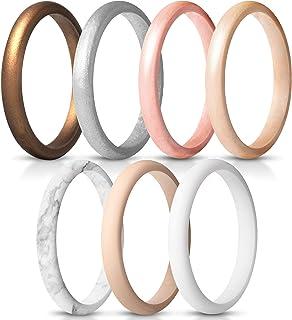 باندهای عروسی حلقه های سیلیکونی نازک و قابل انعطاف ThunderFit زنان - 7 حلقه / 1 حلقه عرض 2.5 میلی متر - ضخامت 1.8 میلی متر