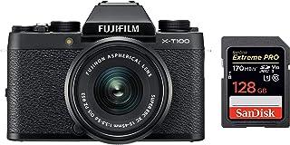 Fujifilm X Series X-T100 24.2MP Mirrorless Camera (Black) with XC15-45mm Lens Kit + SanDisk 128GB Extreme Pro SDXC UHS-I C...