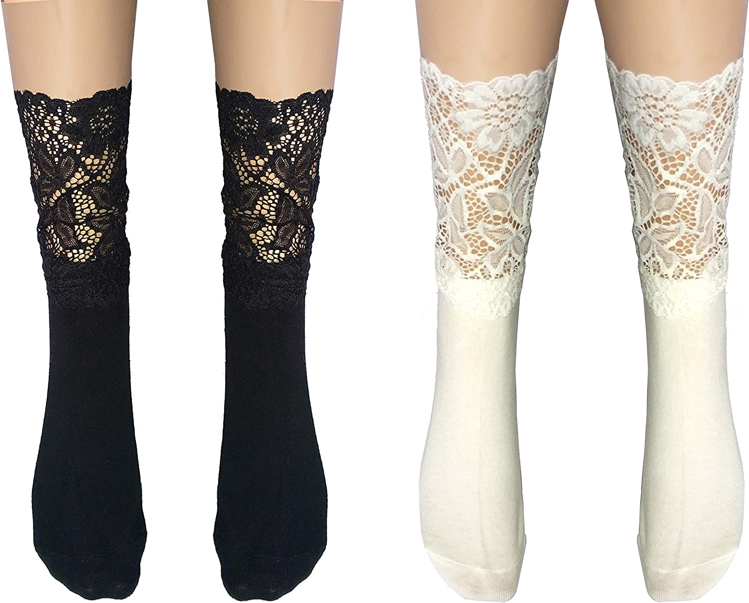 Flycheers women's Lace Anklet Sock, Breathable Mesh Lace Socks, Fishnet Dress Ankle Socks, 2 Pairs