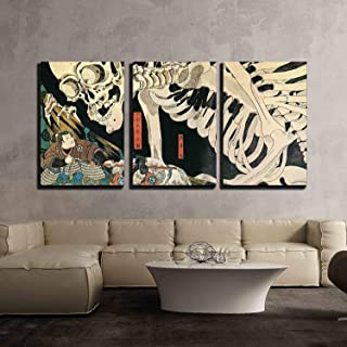 wall26 - 3 Piece Canvas Wall Art - Utagawa Kuniyoshi - Takiyasha The Witch and The Skeleton Spectre - Ukiyo-E - Modern Home Decor Stretched and Framed Ready to Hang - 24