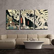 wall26 - 3 Piece Canvas Wall Art - Utagawa Kuniyoshi - Takiyasha The Witch and The Skeleton Spectre - Ukiyo-E - Modern Home Decor Stretched and Framed Ready to Hang - 24