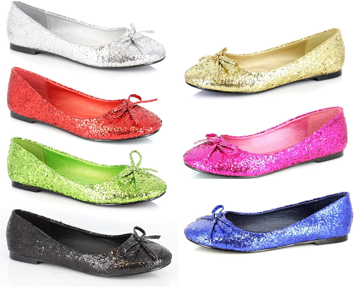 Ellie shoes 016-MILA-G REDG Womens, Adult Glitter Flat with Bow
