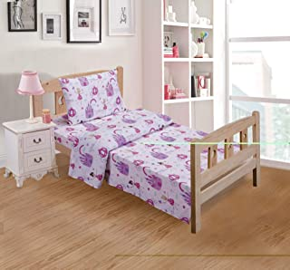 Linen Plus 3pc Crib/Toddler Bed Sheet Set for Girls/Teens Fairy Tales Castle Princess Carriage Pink Lavender White New