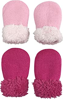 N'Ice Caps Baby and Toddler Easy-On Sherpa Lined Knit Stretch Mittens - 2 Pair Pack
