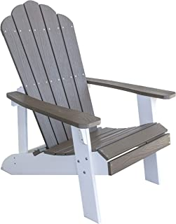 AmeriHome Outdoor Two Tone Adirondack Chair with Durable Simulated Wood Construction - Driftwood with White Accents ADCHAIR5