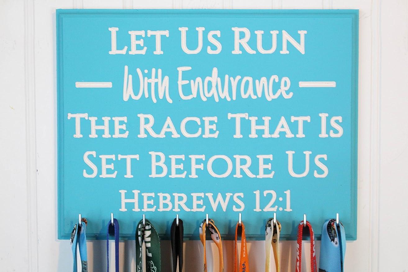 Hebrews 12:1 Let Us Run With Endurance - Carved Running Medal Holder - Bib Holder