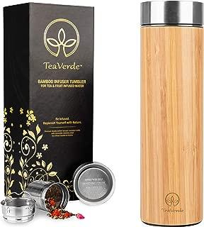 Vaso de té de bambú con infusor de té de acero inoxidable - Termo con aislamiento de vacío de doble pared de 17 oz - Taza de viaje a prueba de fugas y sin BPA para té y café de hojas sueltas. Gran regalo para los amantes del té
