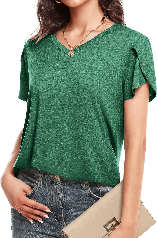 LOLLO VITA Women's Shirts Petal Sleeve V Neck Summer T-Shirts Short Sleeve Tops Casual Loose Tee Tunic