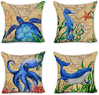 pinata Ocean Theme Pillow Covers Set of 4, Premium Cotton Linen Nautical Decorative Throw Pillow Covers for Sofa Couch Chair Car Home 18x18 Inch