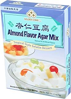 1 x 6.2oz Golden Coins Almond Flavor Agar Mix, Tropical Style Gelatin Dessert, Product of USA